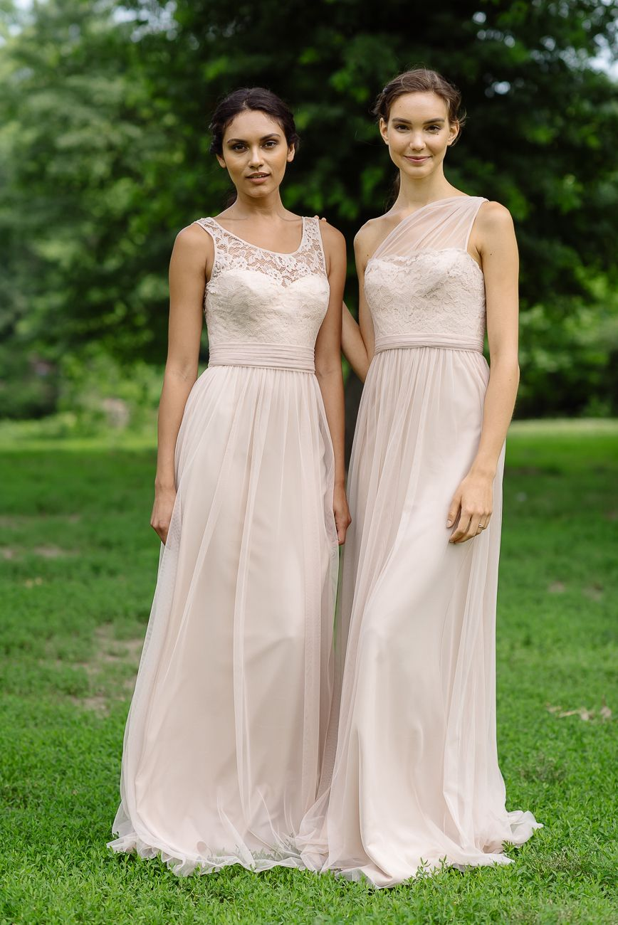 02c9dfde7e58 Amsale Bridesmaid Lace/Tulle Dresses in Fawn - Left: G954 Right: G956.