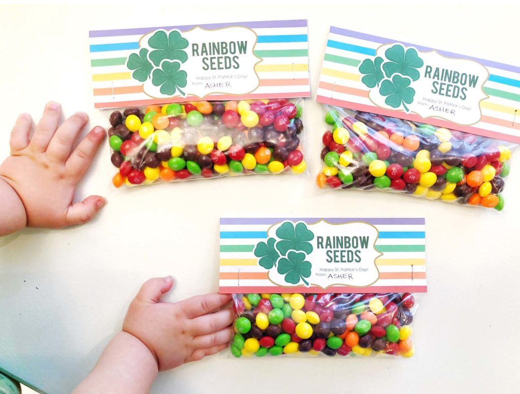 We have a weeee bit of Irish in us (very little ;) BUT that's not the point!!) We love creating little treat bags of Rainbow Seeds for St. Patrick's Day! It is so fun seeing the kids' reactions to the idea that the Skittles are seeds for sprouting up rainbows! Kids grow up too fast…I want to make it whimsical and fun for them as long as I can. Celebrating the holidays with our kiddos is very important to me and I enjoy making the season special with sweet details. Create your own Rainbow…