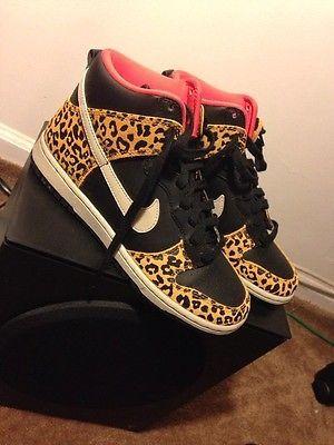 f181c4934171 Nike Wmns Dunk High Skinny Black Leopard Sz.5.5 Womens High Top Shoes 429984 -011