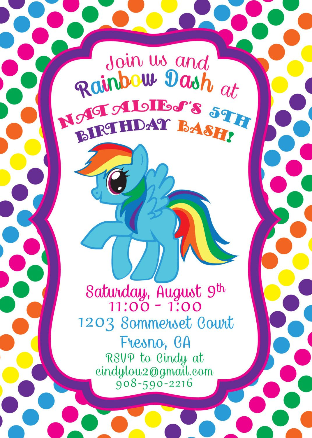 Rainbow Dash 5x7 Printable Birthday Invitation By PeaceLovePrint 500