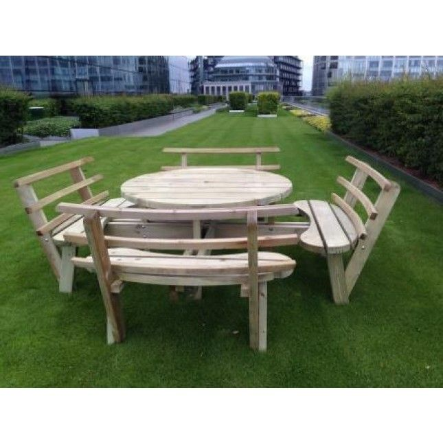 Outstanding Swedish Redwood Circular Picnic Bench With Backrests Pabps2019 Chair Design Images Pabps2019Com