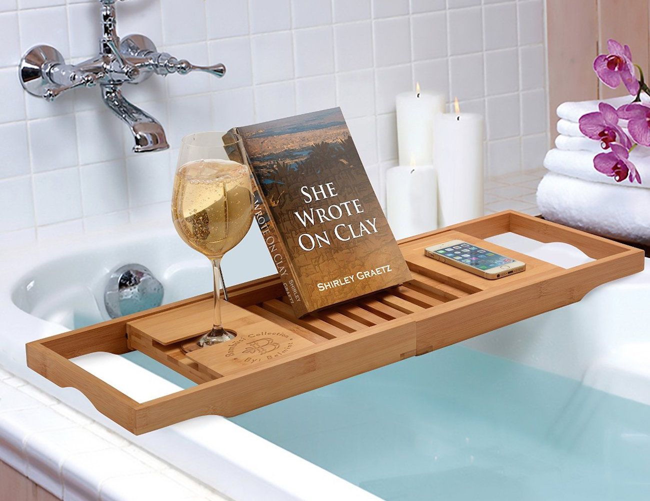 Bamboo Bathtub Caddy From Bambüsi By Belmint | Bubble baths, Bathtub ...
