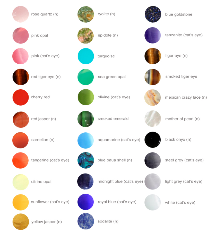 Gemstone Color Chart All Gemstones Are Either Natural Semi Precious Stones Or Handmade Gl Have An N Next To Their Names