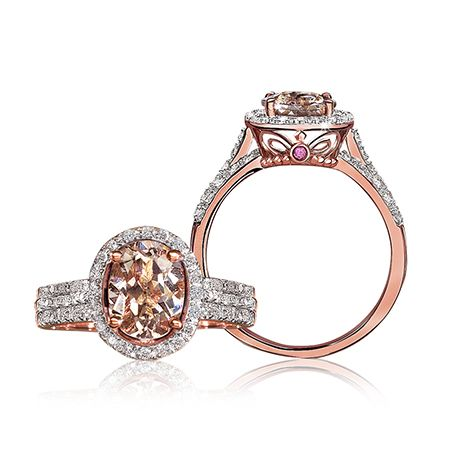 Jk Crown Morganite Diamond Halo Ring In 10k Rose Gold With