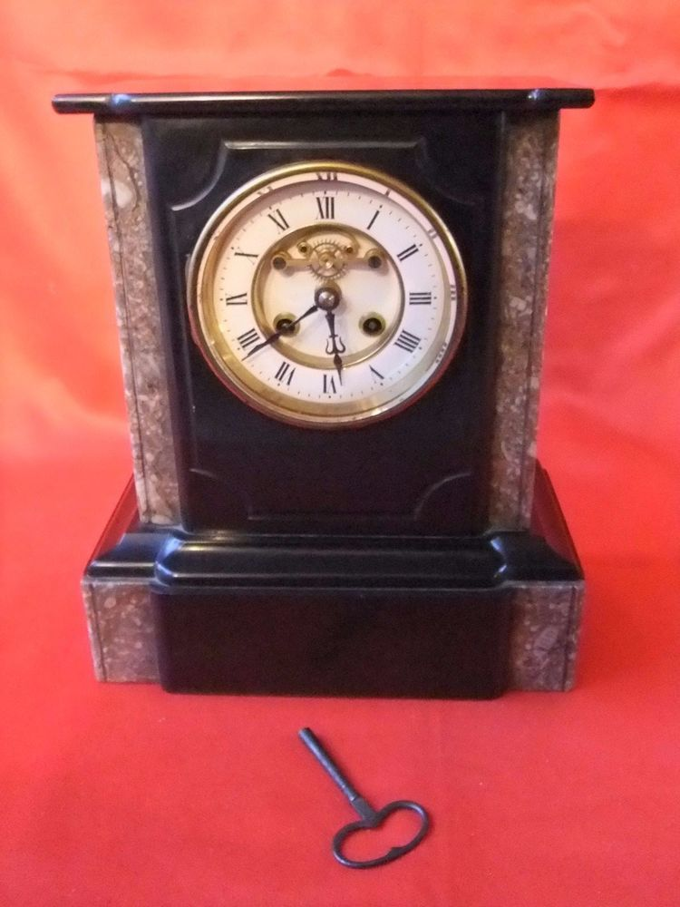 Pendule horloge garniture Napoléon III marbre mécanisme ...