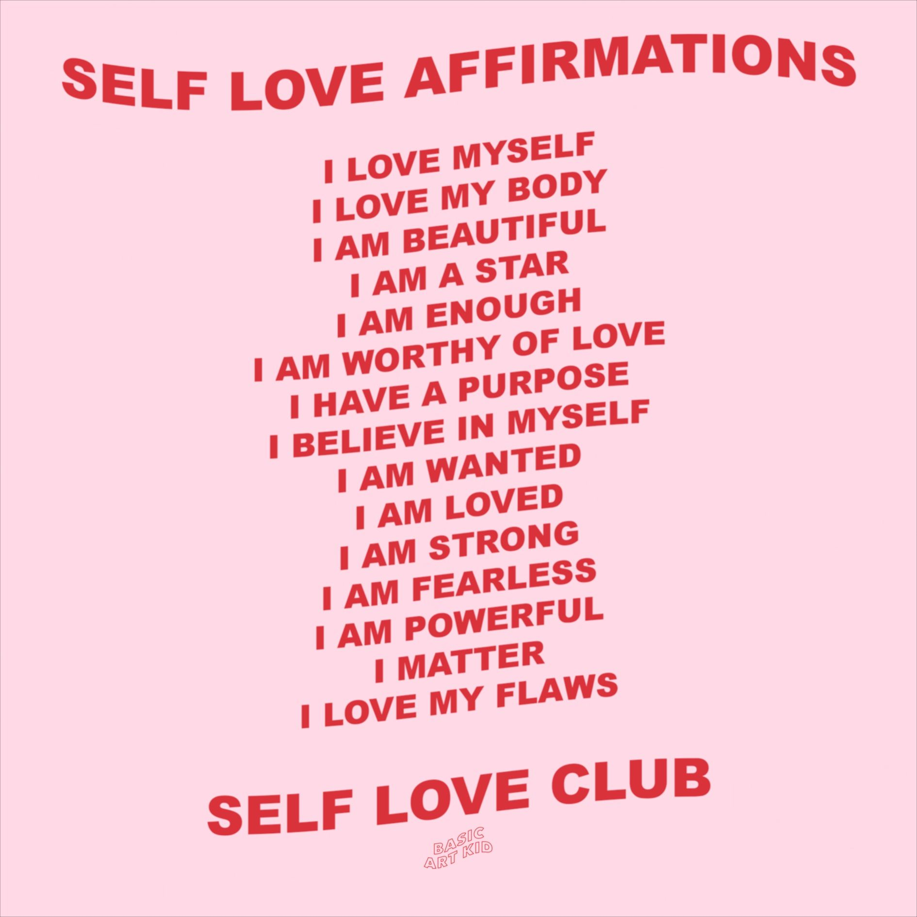 Self Love Affirmations Aesthetic Art Print 2 Colour