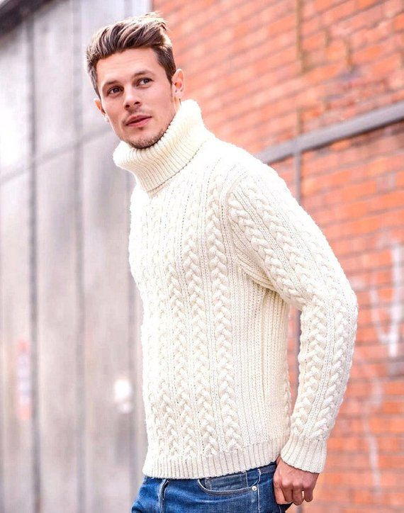 a7839400d79 White Merino Turtleneck Sweater. Men s Turtleneck. Merino wool Turtleneck  Top. Thick Sweater. Winter