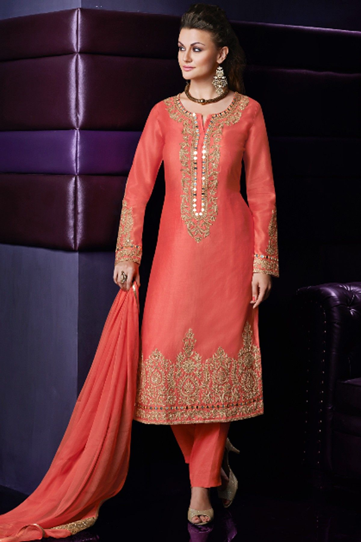 Orangish peach shimmer crepe silk embroidered Salwar suit with ...