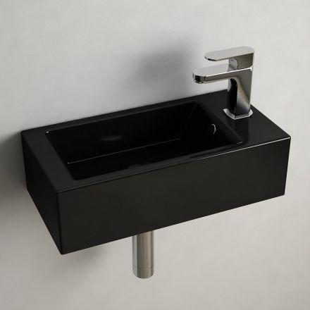 Mini lave-main en céramique noir. Modèle suspendu, idéal pour les ...
