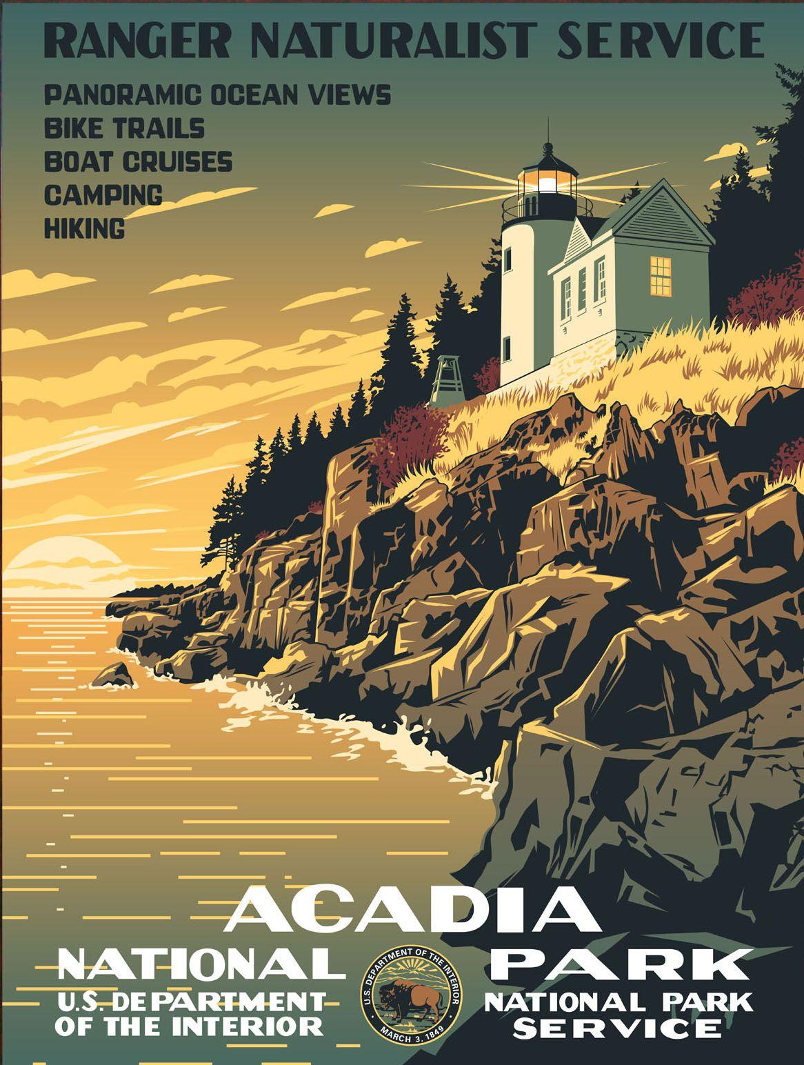 Delightful Vintage National Park Posters Part - 2: Vintage National Park Poster | Vintage Reproduction Of 1930s Acadia National  Park Poster
