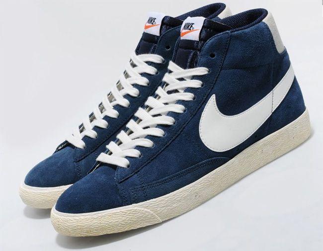 Nike Blazers En Daim Bleu Marine