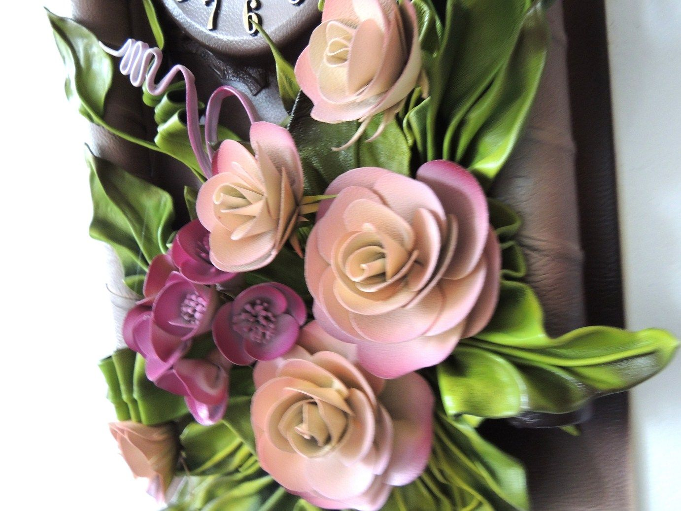 Unique 3D Leather Art Roses and Hydrangeas  with Clock  This Unique Leather  Clock collection we call Wave of the Sea. This beautiful Clock suit any taste or fit any home and office decor. These very unique Leather Clock with Flowers have a  high quality embellished work . Hand crafted.  https://plus.google.com/communities/107298104499962573861  https://www.facebook.com/pages/MAK-Marketplace/331889076912354  http://www.pinterest.com/MAKMarketplace/