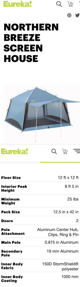 Canopies And Shelters 179011 Eureka Northern Breeze Camping