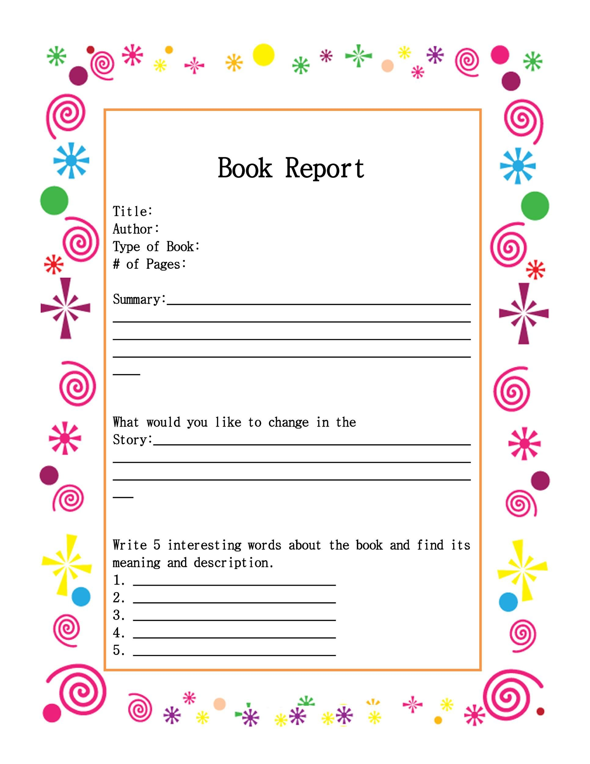 Book Report Template Grade 9 3