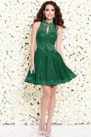 Emerald Short Lace A-Line Prom Dress 4083