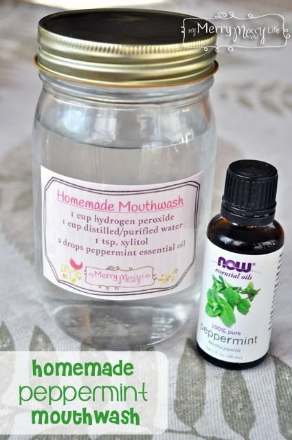 TTTTT Homemade All-Natural Mouthwash w/only 4 ingredients!Leaves mouth minty fresh w/out harmful chemicals.1C hydrogen peroxide (3%), 1C distilled/ purified ...