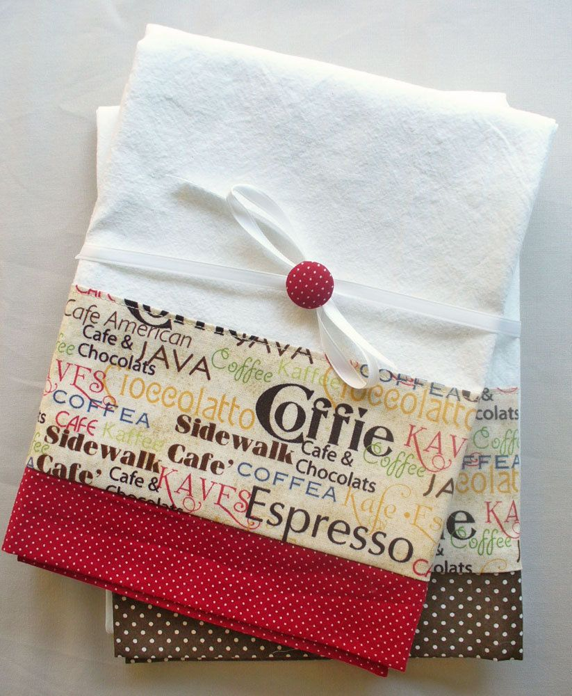 Red Kitchen Hand Towels: Kitchen Towels With Coffee And Chocolate Pattern Cotton