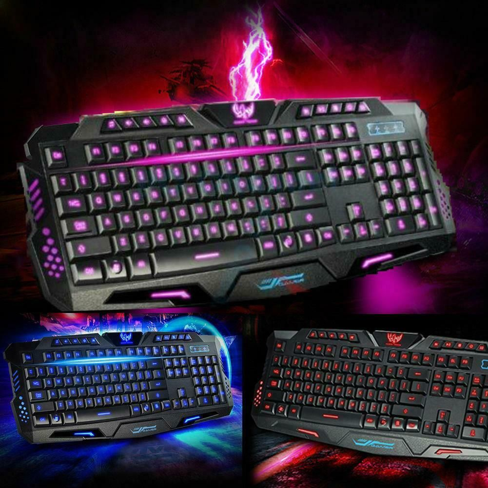 keyboard gaming led pc mouse wired usb illuminated backlight colors computer rainbow fusion rgb chanical mem 3color 5500dpi backlit colorways