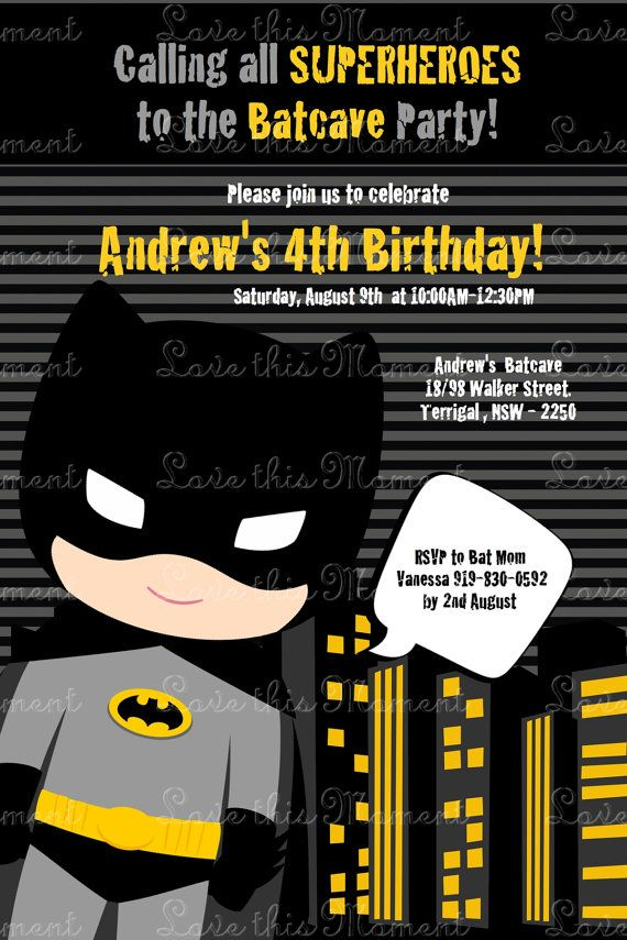 Batman Invitation by Love this Moment | Batman invitations, Batman ...