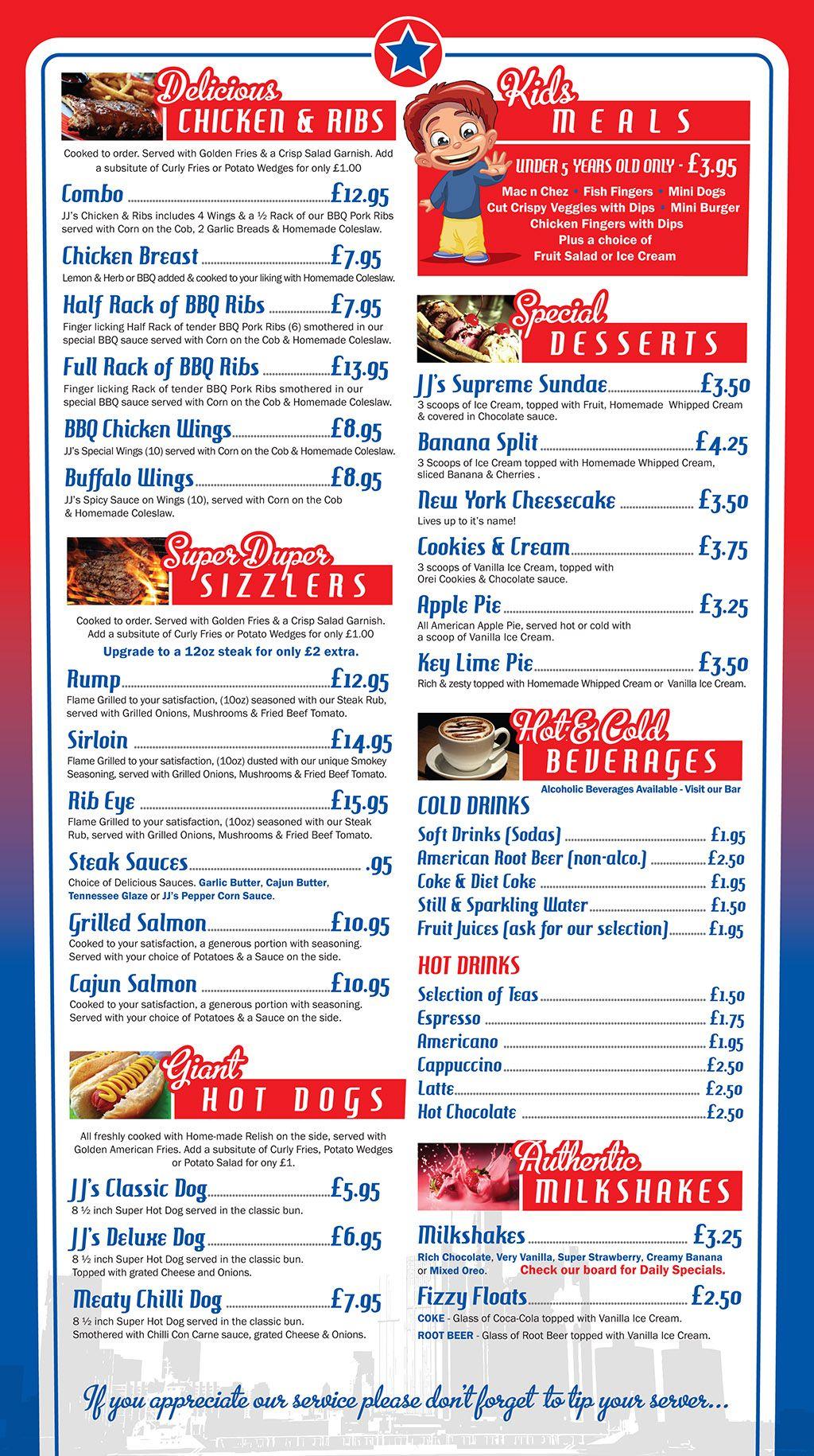 American diner food menu google search frankie nolan for American cuisine menu