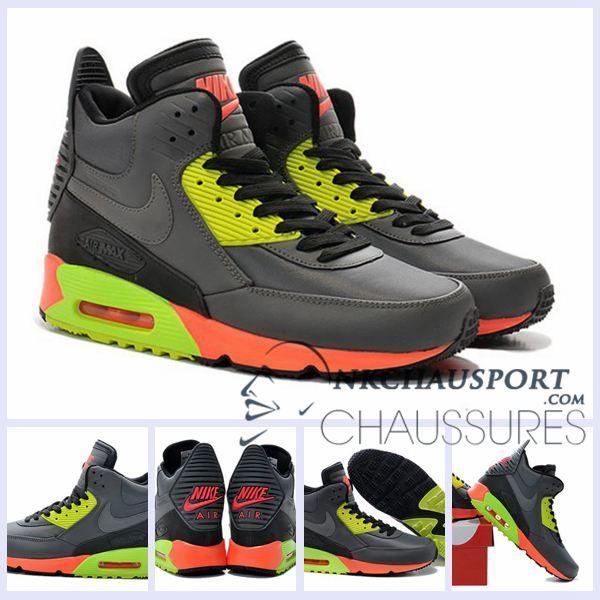 Nike Air Max 90   Meilleur Chaussures Running Montante Homme Grise/Vert/Grise