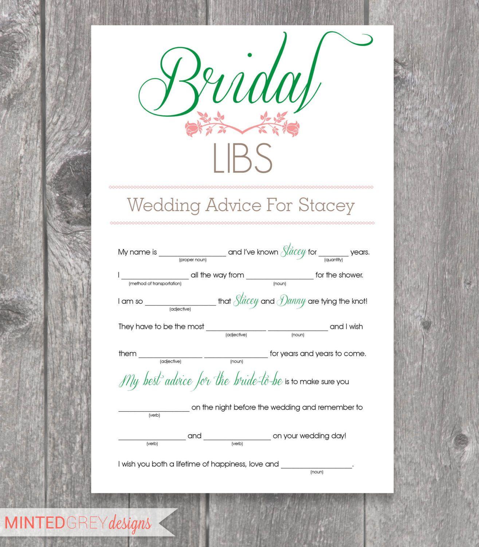 Printable Bridal Libs Mad Libs Bridal Shower Game. $12.00, via Etsy ...