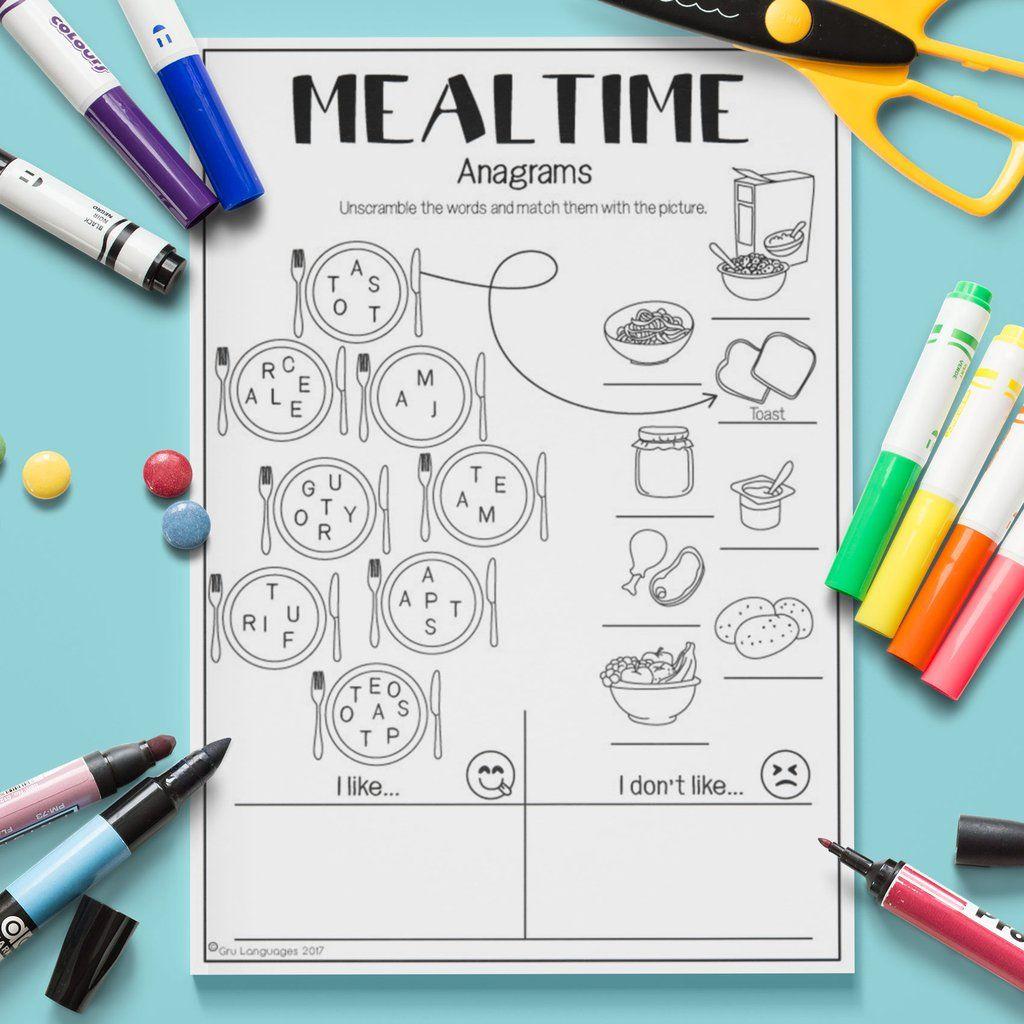 Mealtime Anagrams Con Imagenes