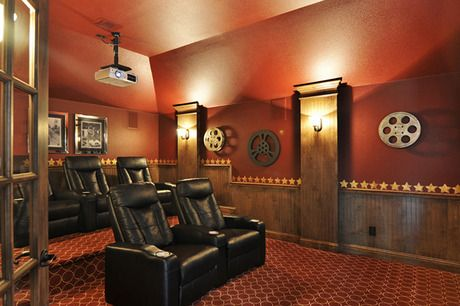 Wainscoting and panels with wall sconces. Media room by