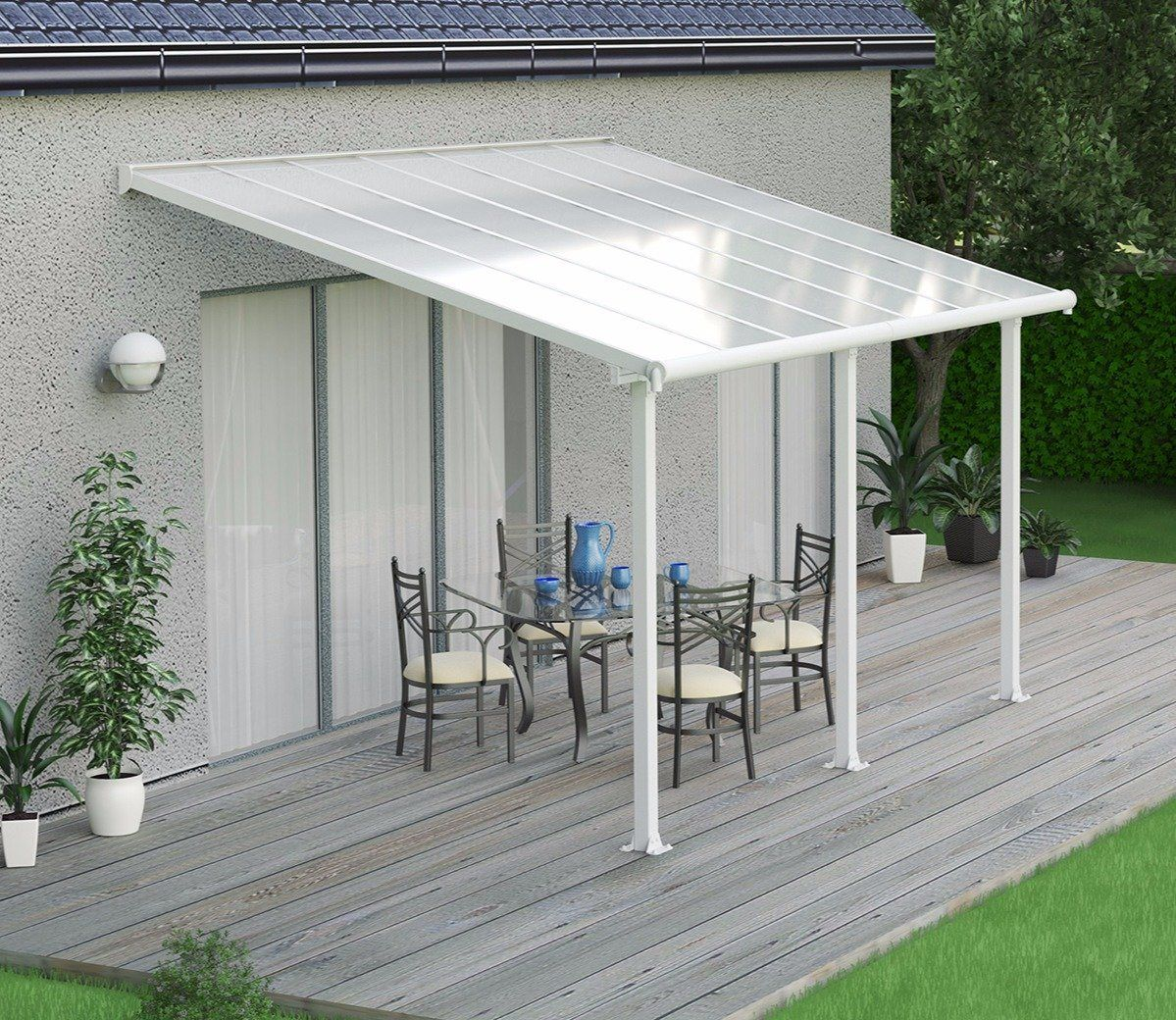 Palram Olympia White 14 X 9 Ft Patio Cover Patio Awning Patio Patio Roof