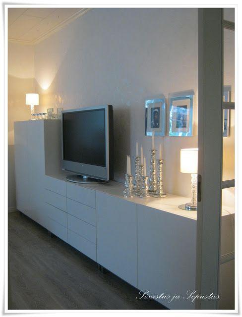 Stue, skandinavisk interiør, Ikea Bestå, tvbenk, Muuto House - meuble a chaussures grande capacite