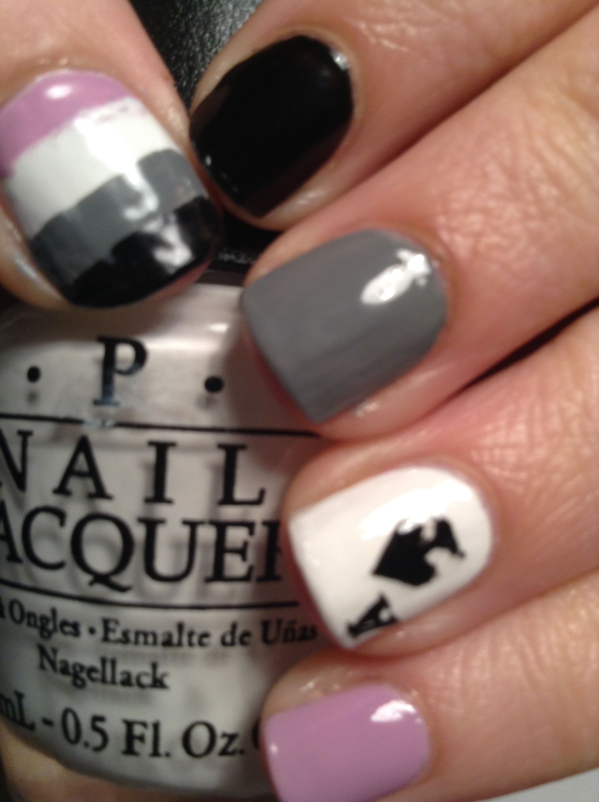 Ace pride nail art, inspired by the colours of the asexuality flag.