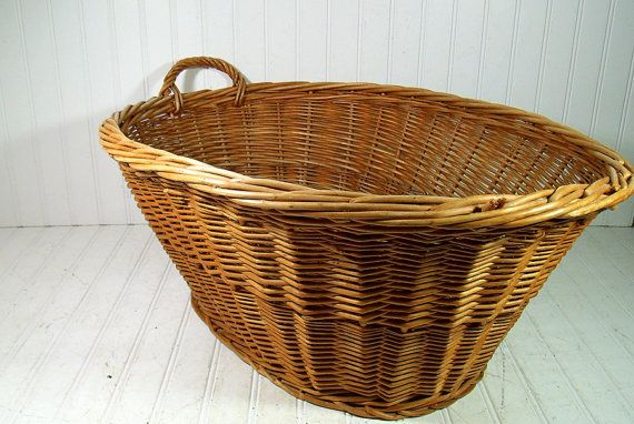 Vintage Large Oval Wicker Laundry Basket by DivineOrders on Etsy