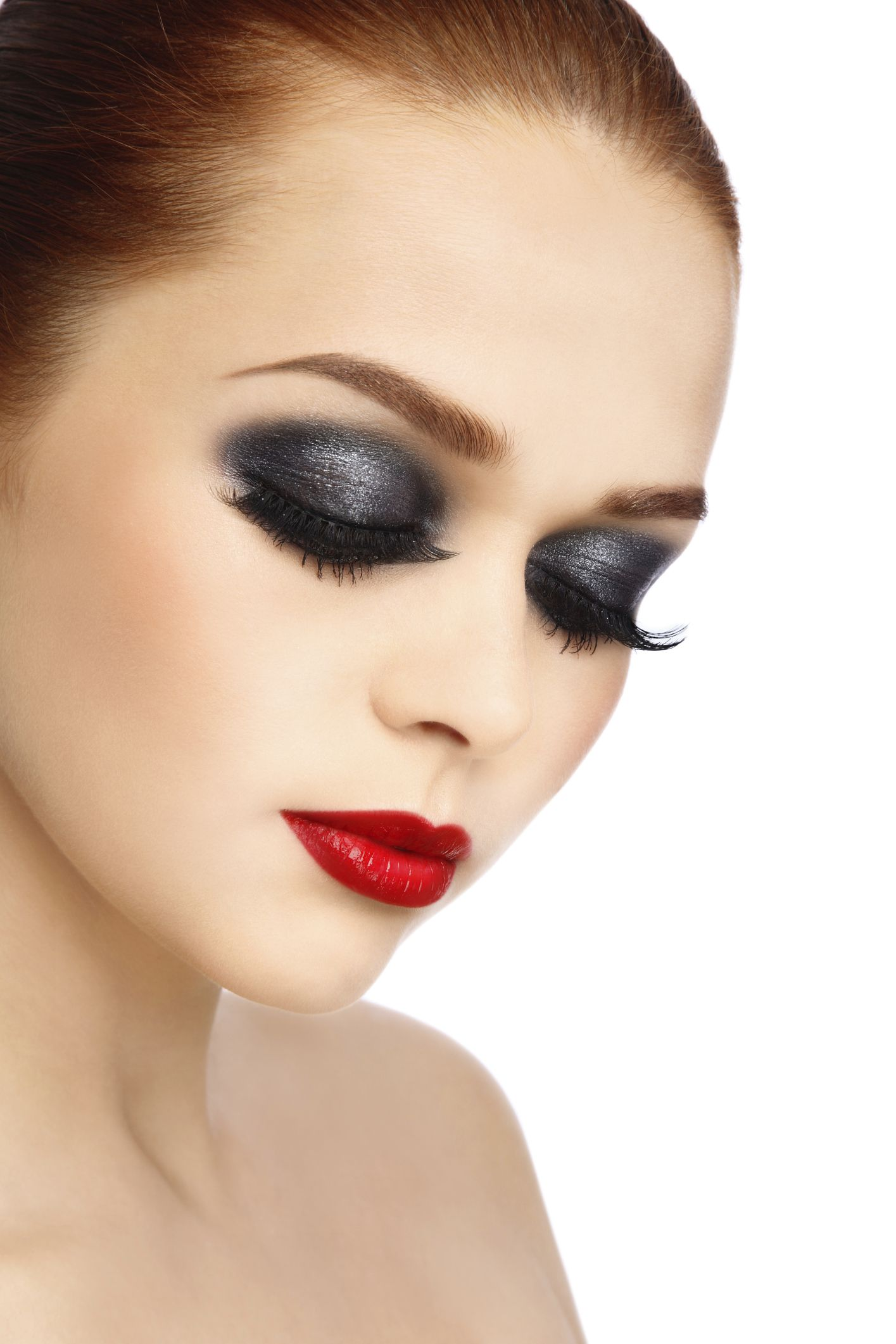 Flawless Skin Red Lipstick And Neutral Shadow With Black Eyeliner