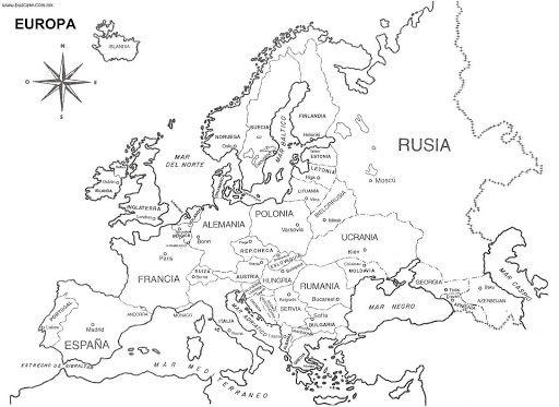 Mapa Europa Para Imprimir.Mapa De Europa Para Colorear Para Ninos De Primaria Paises Y