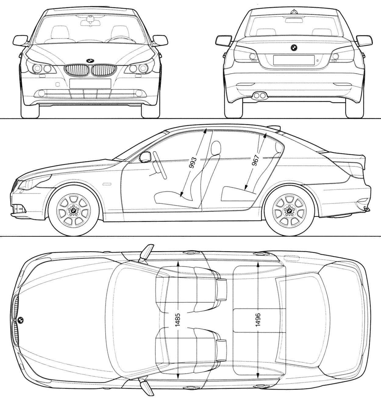 Blueprints Bmw Serie 5 E60 Model Sheet Blue Print