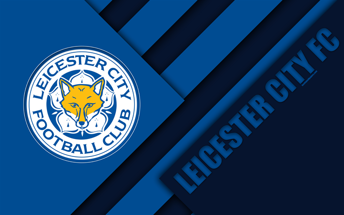 Download Wallpapers Leicester City FC, Logo, 4k, Material