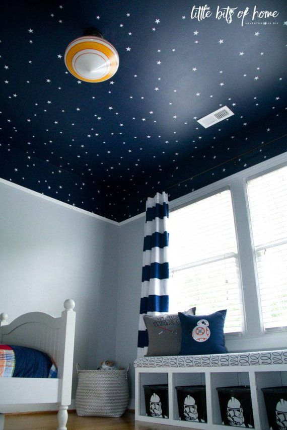 "Star Wars themed wall decals  White star decals  Little Bits of Home Star Wars bedroom reveal  Li is part of Kids bedroom Paint - starwarsbedroomrevealADDITIONAL INFORMATIONWe use highquality, waterproof, removable vinyl Decals can be applied to almost any smooth, nonporous surface that is clean and dry Our decals can also be applied outdoors with an outdoor durability rating of 3 years  Our thin, matte finish vinyl gives a painted effect We offer a selection of 61 colors to customize your decal  (See Custom Options below )All our decals come with stepbystep application instructions in PDF form via email and a free decal for practice  CUSTOM OPTIONSCOLOR Choose any 1 color from our color chart shown in the last picture  Type your color choice into the  note to Jesabi  box when checking out  If no color choice is left, your decal will come in the color shown in the first picture SIZE The size of the decal can be adjusted if necessary  Contact us for pricing REVERSE ORIENTATION The orientation of the design can be reversed  Just type ""Reverse Orientation"" into the  note to Jesabi  box when checking out NOTE Each decal set is uniquely made according to the specifications of the customer and therefore cannot be returned or exchanged, so please be sure to provide us with all necessary information regarding customization, shipping preferences, etc  For more information please visit our policy page"