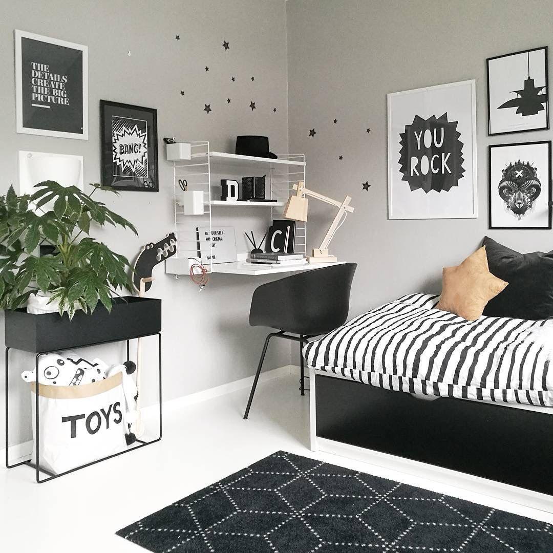 habitaciones juveniles decoradas en blanco y negro