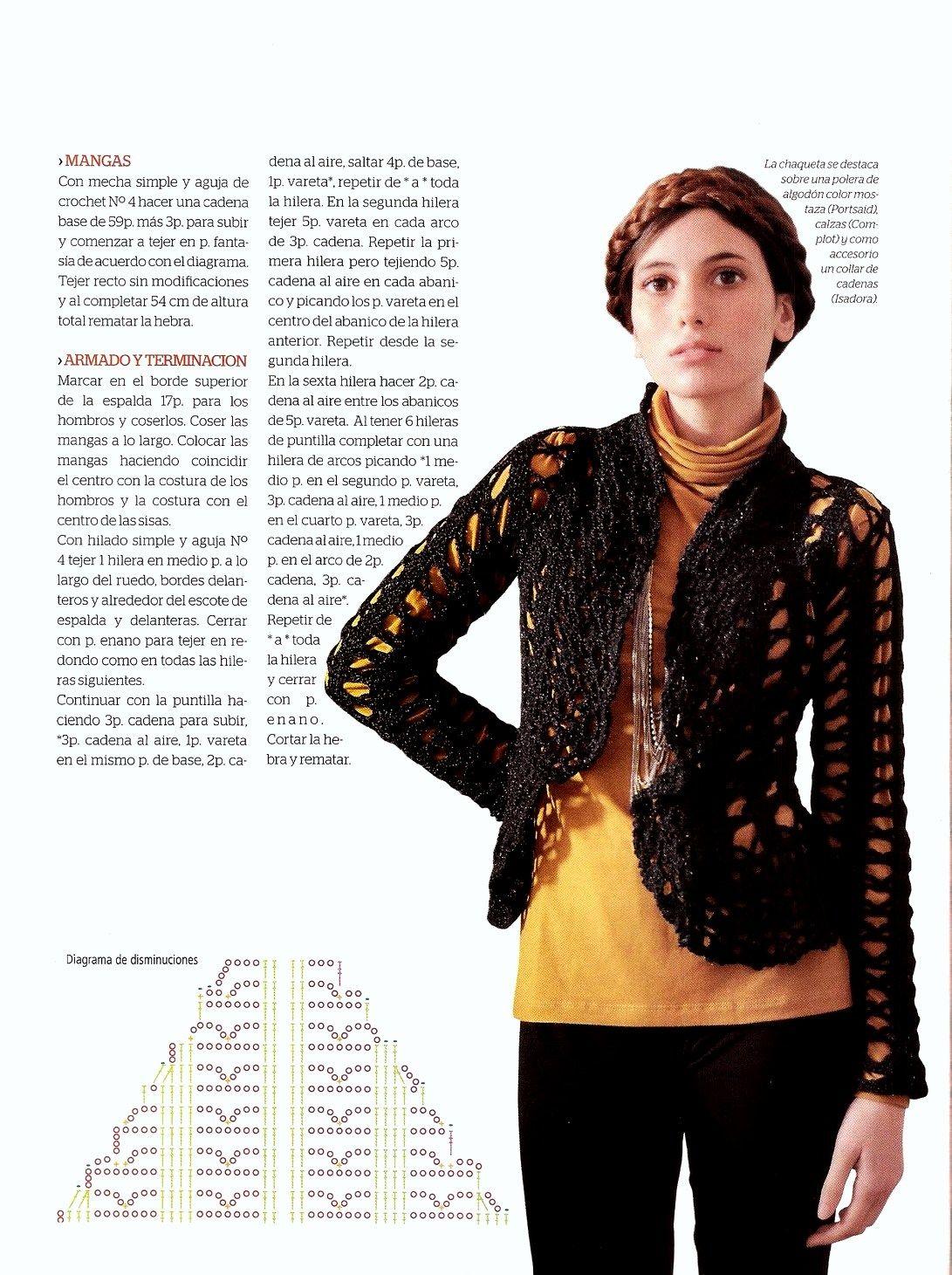 Chaqueta clasica con puntilla en ondas | Vestir Crochet-Clothes ...