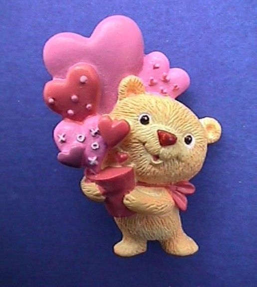 Hallmark PIN Valentines Day TEDDY BEAR w HEART BALLOON Planter Vintage BROOCH