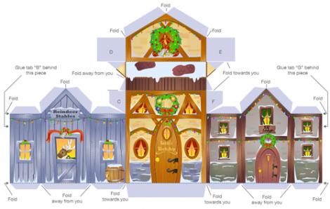 Villaggio di Babbo Natale fai da te in carta Carta di