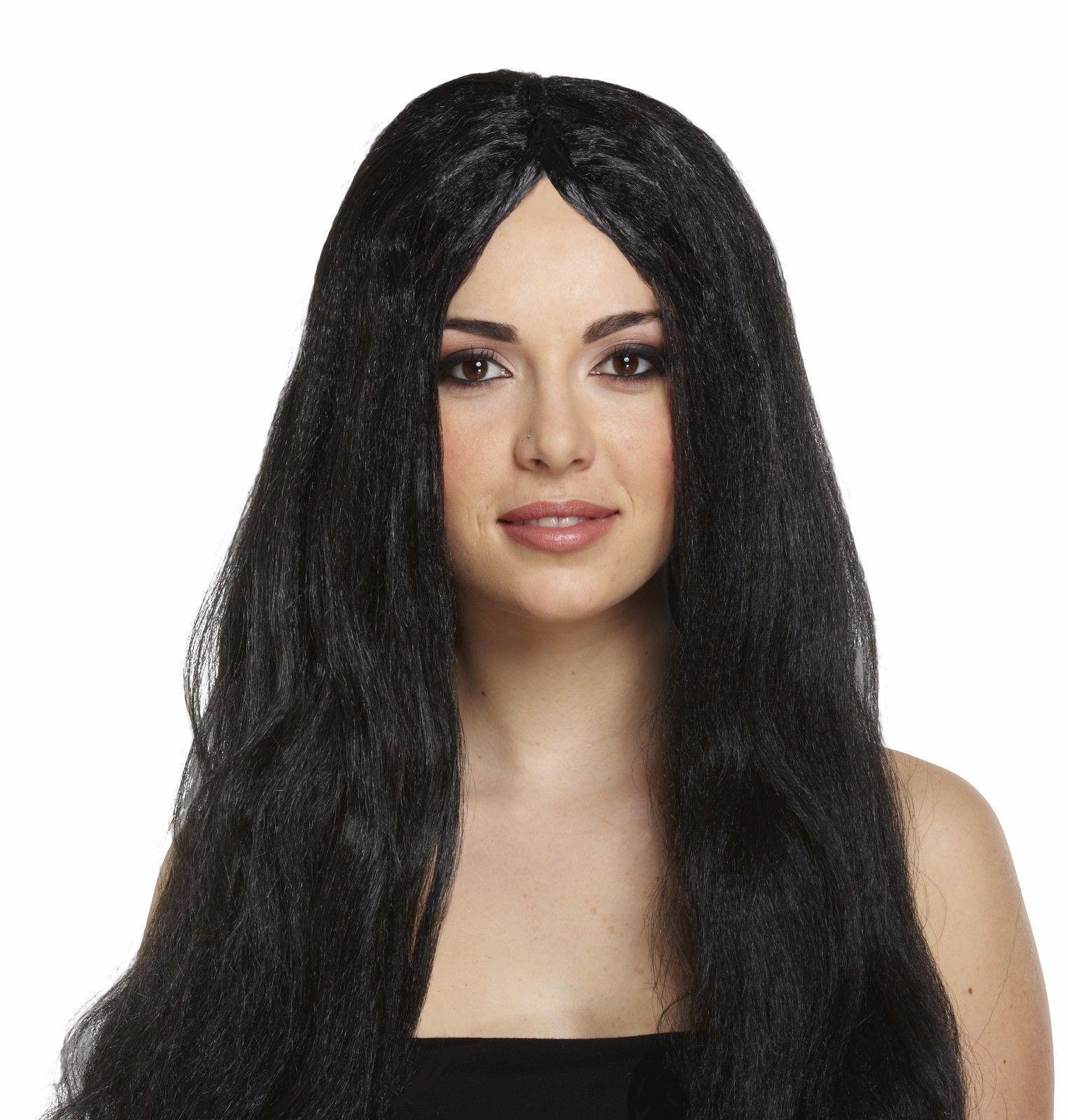 Ladies womens long black wig fancy dress halloween witch  34b79622e7