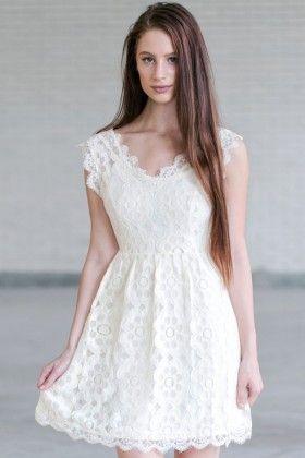 Cream Lace A Line Dress Cute Bridal Shower