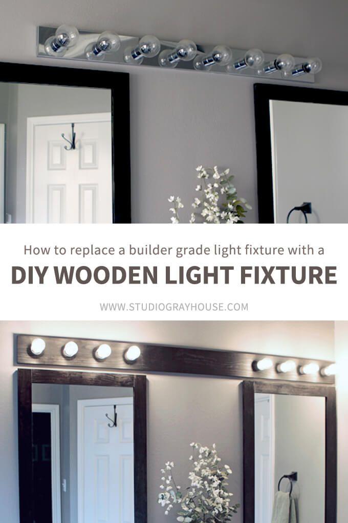 Wooden Light Fixture Over Bathroom Mirrors Wooden Light Fixtures Wooden Light Spray Painting Light Fixtures