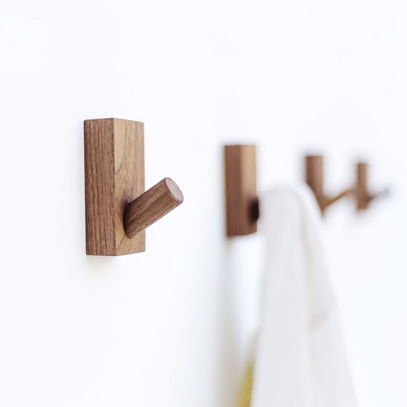 Collalily Nordic Wooden Wood Modern Design Wall Clothes Robe Hook