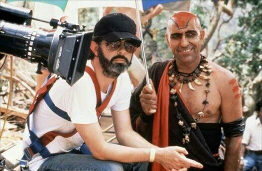 George Lucas and Amrish Puri on the set of Indiana Jones and the Temple of Doom