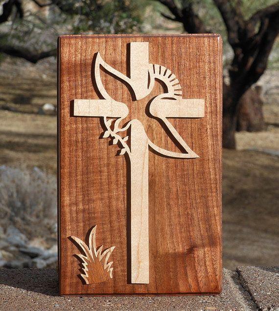 Wall Art  Cross & Dove of Peace Wooden Wall by CharlieLittleOnLine, $21.00