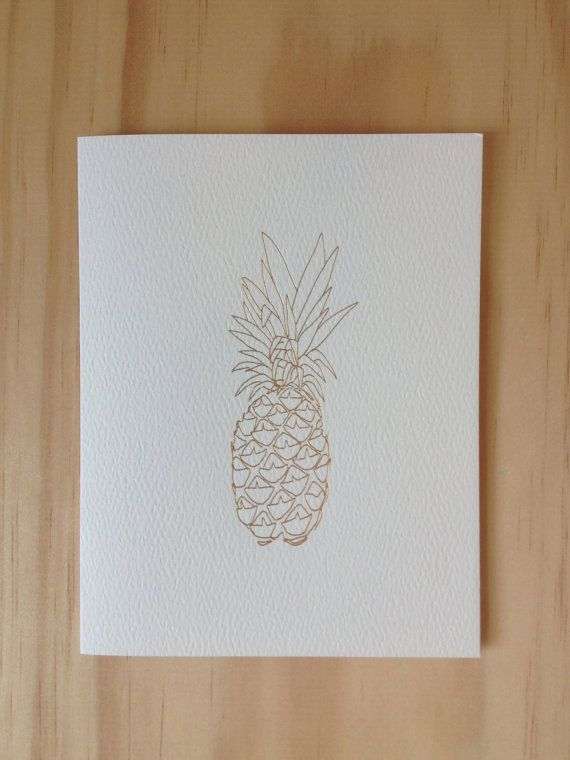 foil pineapple blank card  etsy  foil letterpress blank