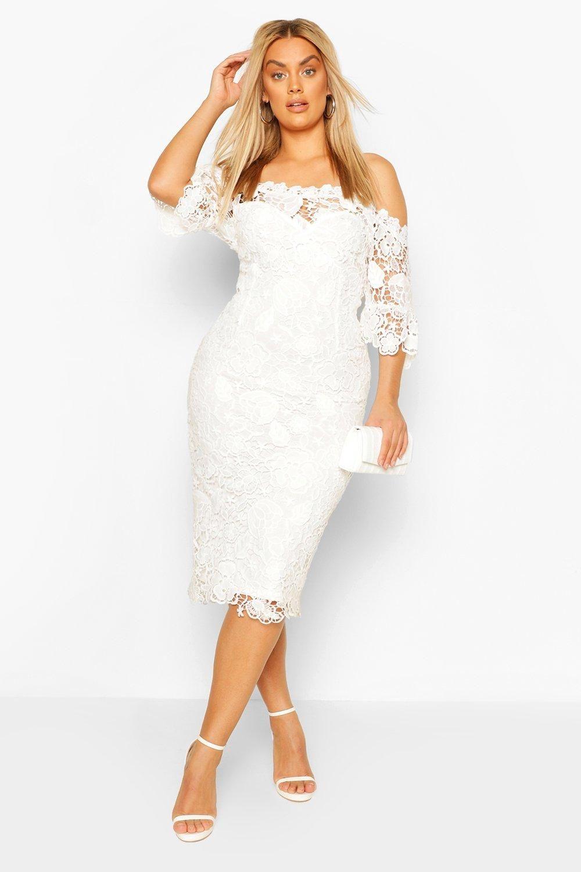 Women S Plus Occasion Lace Bardot Midi Dress Boohoo Uk Dresses Cocktail Dress Classy White Short Dress [ 1500 x 1000 Pixel ]