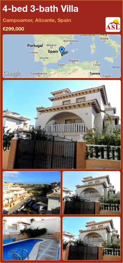 4-bed 3-bath Villa in Campoamor, Alicante, Spain ►€299,000 #PropertyForSaleInSpain